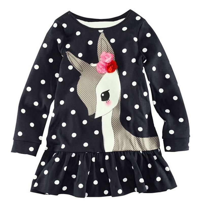 Qianquhui New Style Baby Girls Toddler Kids Long Sleeve Lace Dress One-piece Deer Cotton Dress 1-6Y kids baby girls long sleeve lace dresses one piece dots deer cotton girl dresse toddlers clothes