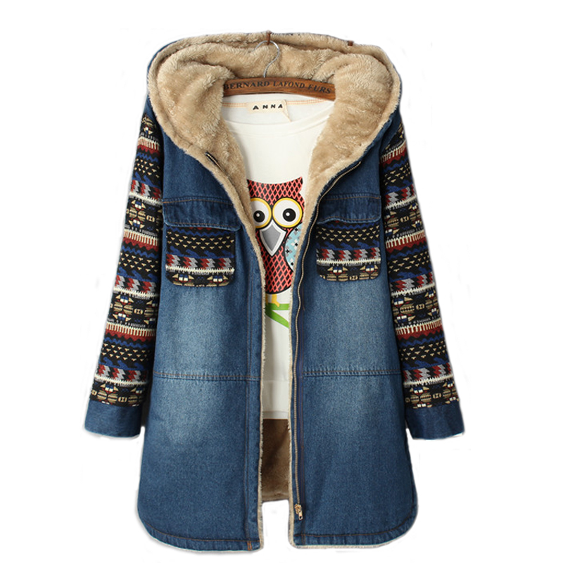 Winter Women Cashmere Wadded Jacket Female Outerwear Thickening Casual Denim Cotton Coat girls Hoodies   Parkas
