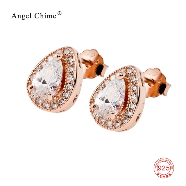 a462d56d6 Rose Gold Color Water Drop Design Earrings Pure 925 Sterling Silver Stud  Earrings Fashion Jewelry For Women