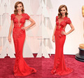 87th Oscar Dresses 2015 Red Carpet Cap Sleeves Appliques Red Celebrity Dresses