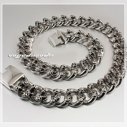 Huge & Heavy 316L Stainless Steel Skulls Mens Biker Necklace 5F005N Length Customizable