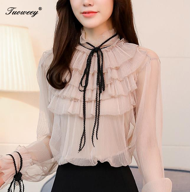 sweet solidl ruffle bow chiffon   blouse     shirt   fashion woman   blouses   2019 long sleeve solid white pink top femlae blusa