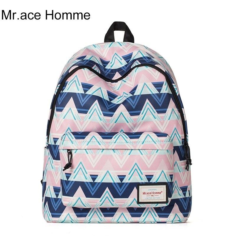 MR ACE HOMME brand school bag female shoulder bags printing Korean fashion trend backpack women leisure