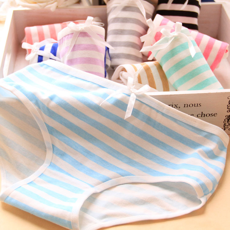 2015 High Quality Brand Summer Style Small Fresh Stripes Navy Bow Lovely Underwear Women Panties Cotton Cute Girl Briefs 3NK064