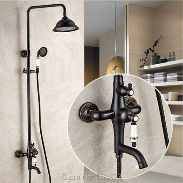 New Arrival Solid Brass Bathroom Shower Set Faucet Oil Rubbed Bronze Mixer Tap W/ Ceramics Hand Shower Sprayer Wall Mounted chrome polished rainfall solid brass shower bath thermostatic shower faucet set mixer tap with double hand sprayer wall mounted