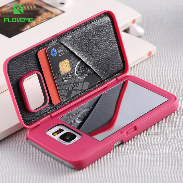save off b66a7 fd9cd US $4.49 10% OFF|FLOVEME For Samsung Galaxy S8 Plus S7 Edge Case With  Makeup Mirror Card Slot Phone Cases For Samsung Galaxy S7 S8 Hard Flip  Case-in ...