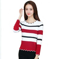 High Quality Cashmere Sweater Women Sweater Winter Striped Sweater Knitted Top Women Autumn Female O Neck