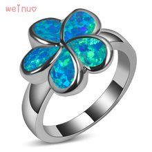 Weinuo Flower Type Blue Opal Ring 925 Sterling Silver Top Quality Jewelry Wedding Ring Size 5 6 7 8 9 10 11 A249(China)