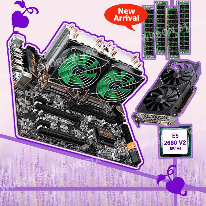HUANAN ZHI E5 X79 dual CPU motherboard com CPU dual Intel Xeon 2680 V2 SR1A6 coolers RAM 4*8G 1600 ECC REG GTX1050TI da placa de vídeo