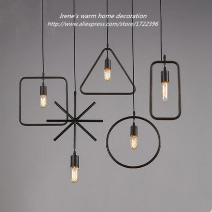 все цены на Industrial Vintage Pendant Lights,Geometry Retro Loft Style Pendant Lamps Hanging Lights,Lustres E Pendente De Teto