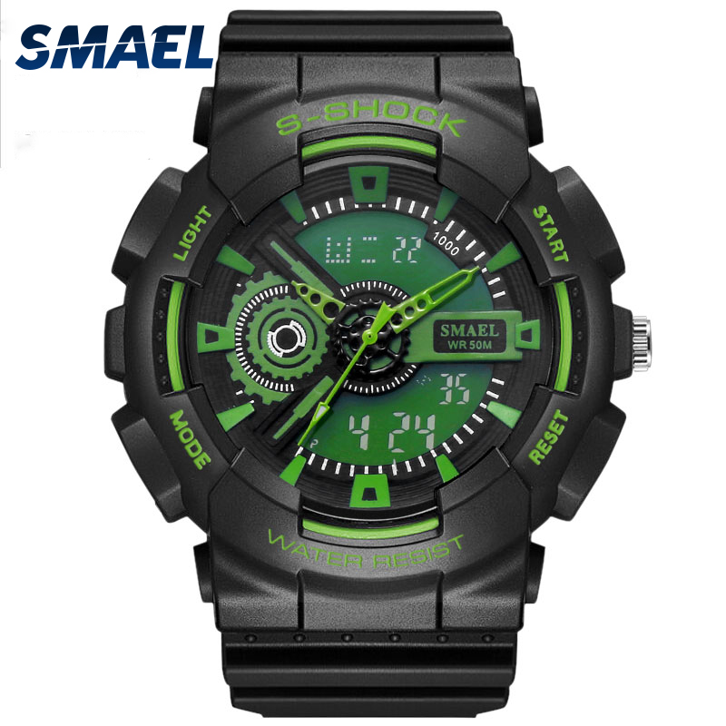 Outdoor Sports Mens Watch LED Electronics Wristwatches Hot Clock 50M Waterproof Dive Relogio Masculino Green Color Watch  1027bOutdoor Sports Mens Watch LED Electronics Wristwatches Hot Clock 50M Waterproof Dive Relogio Masculino Green Color Watch  1027b