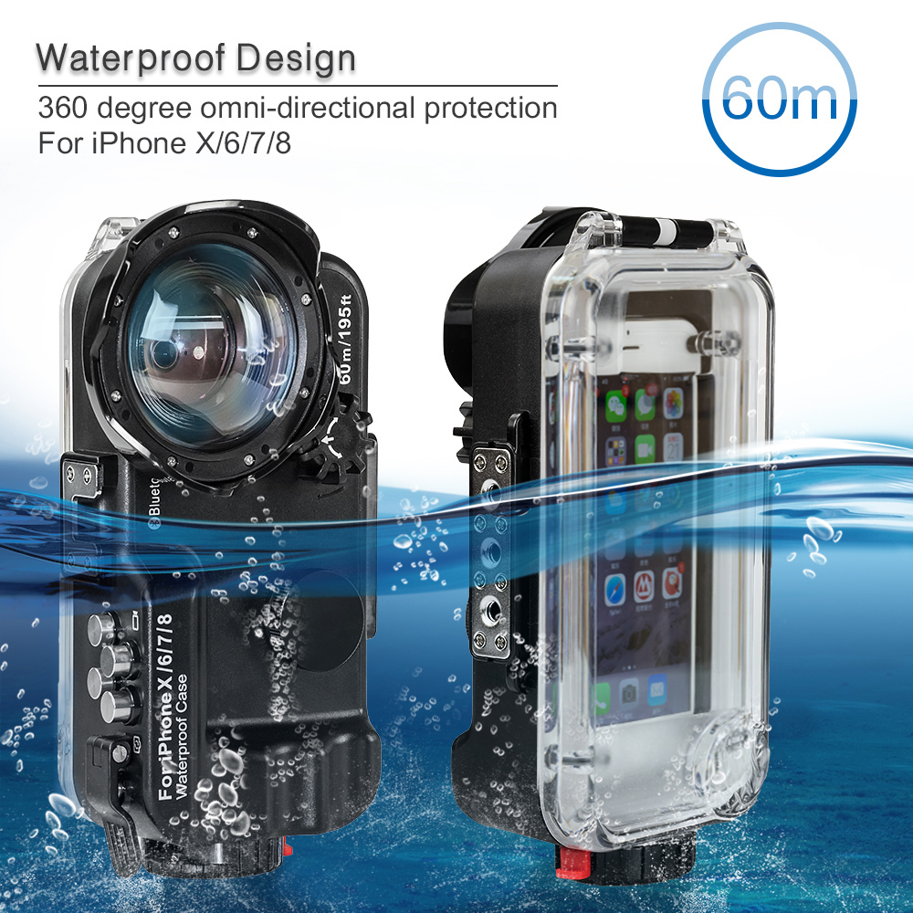 Seafrogs 60m/195ft 4.7 Bluetooth Waterproof Housing Diving Phone Case Cover Bag For iPhone X/6/7/8 - Black / White colorSeafrogs 60m/195ft 4.7 Bluetooth Waterproof Housing Diving Phone Case Cover Bag For iPhone X/6/7/8 - Black / White color