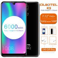 OUKITEL K9 в виде капли воды, 7,12 FHD + 1080*2244 4 Гб 64 Гб Face ID смартфон 16MP + 2MP/8MP мобильного телефона 6000 mAh 5 V/6A Quick Charge OTG