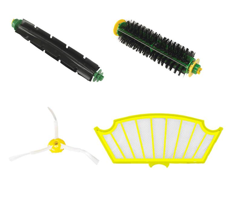 4 Pc/lot Filter Kit Replacement For Irobot Roomba 500 527 528 530 532 535 540 555 560 562 570 572 Free Post+3 Arms Sidebrush
