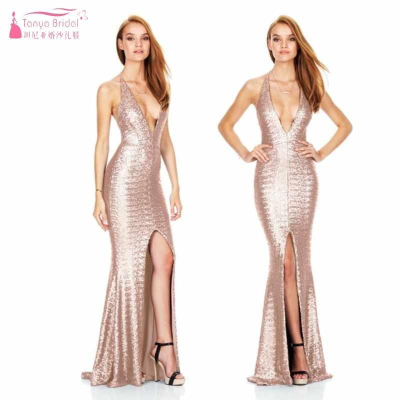 a39323a7 ... Black Gold Bridesmaid Dresses Sexy Slit Long Sequin Dress robe  demoiselle d'honneur Wedding Guest ...