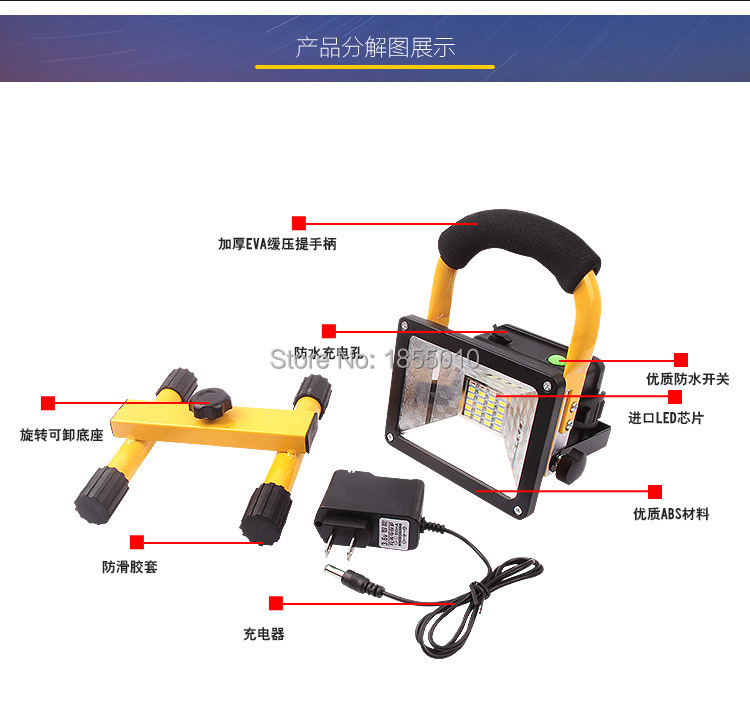 Projectores Portáteis recarregável levou holofote móvel portátil Fonte de Luz : Lâmpadas Led