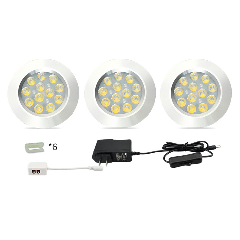 Dimmable 12V LED Under Cabinet Lighting LED Puck Llights Wireless Downlight Spotlights LED Shelf Showcase Closet Kitchen Light Under-cabinet lighting