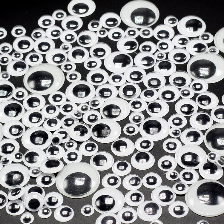 8/10/12/15/20/28MM 3D Self-adhesive Activities Moving Eyes Plastic Wiggling Eyes For Doll Accessories Or Kids DIY Toys