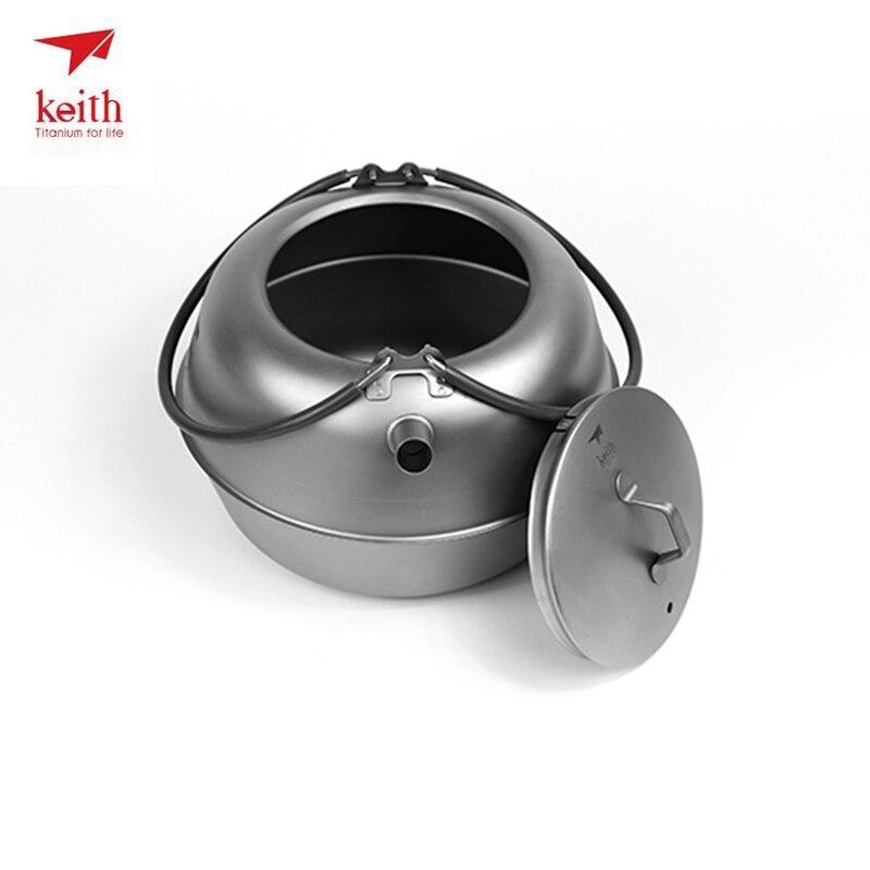 Keith Titanium résistant à la chaleur Double paroi thé tasses cuisson thé bouilloire pour café eau en plein air Camping Drinkware outils Ti3930 - 2