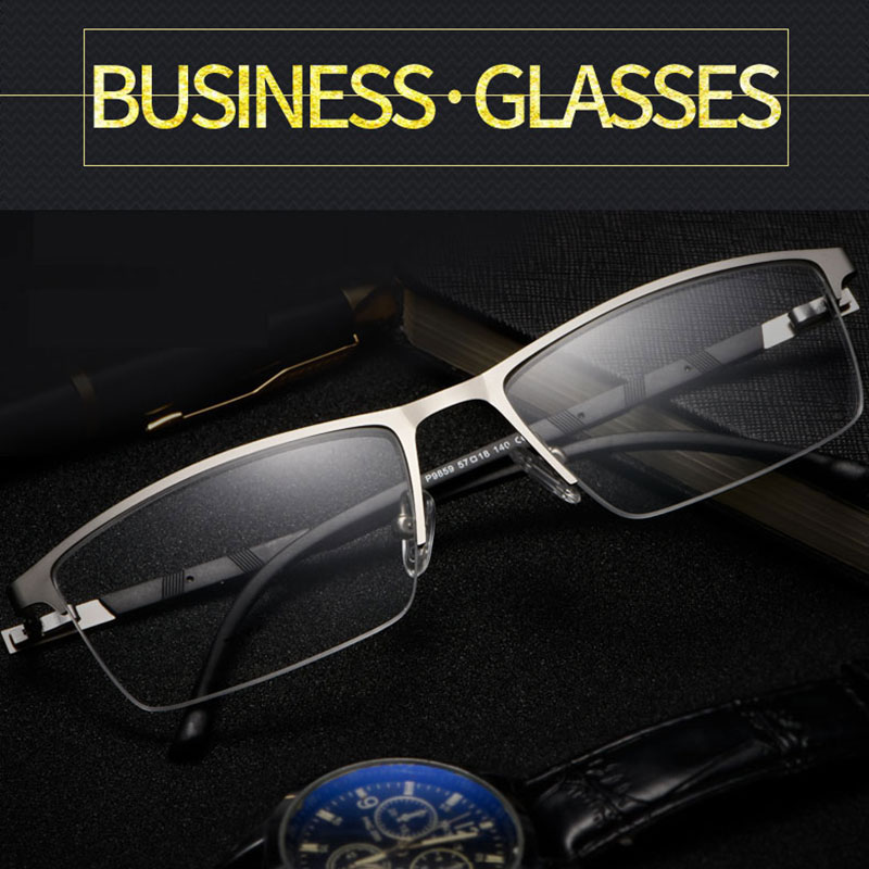 Image 2 - Reven Jate P9859 Optical Business Titanium Eyeglasses Frame For Men Eyewear Semi Rimless Glasses with 4 Optional Colors-in Men's Eyewear Frames from Apparel Accessories