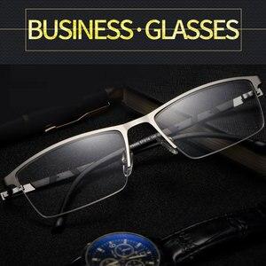 Image 2 - Reven Jate P9859 Ottico di Affari Telaio in Titanio Occhiali da Vista per Occhiali Semi Rim Occhiali con 4 Colori Facoltativi