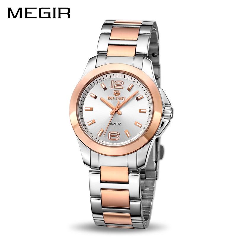 MEGIR Brand Luxury Women's Quartz Watch Stainless Steel Fashion Simple Ladies Dress Wrist Watches Relojes Masculino Reloj Mujer