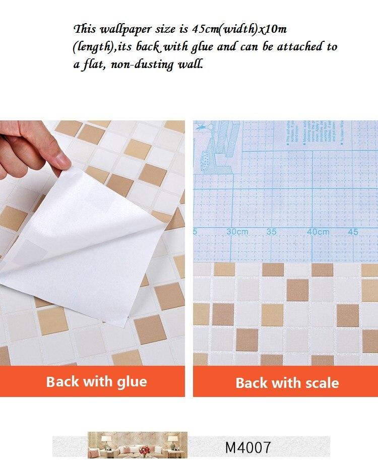 Купить с кэшбэком Thick10M x45cm Kitchen Bathroom Toilet Self Adhesive Mosaic Wallpaper Waterproof Oil Proof Stickers Tiles Renovate Wall Sticker