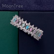 MoonTree New Arrival  Fashion Luxury Shiny Ful AAA Cubic Zirconia Women Baguette Ring Jewelry