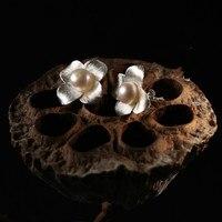 New Arrival ChiangMai Thai Handmade 925 Sterling Silver Earrings Thai Vintage Pearl Earrings Freeshipping