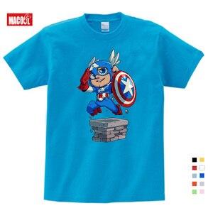 2019 Lovely Captain America Kids T Shirt Boys Clothes Avengers Superhero Spider-Man Tshirts for Girls Children Clothing 3T-9T