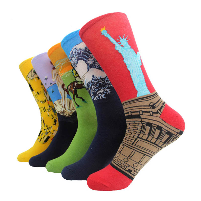 Autumn Winter Fashion Printed Socks Men Hit Color Cotton High Elastic Male Sock Wedding Gift