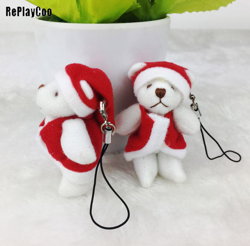 5PCS/Lot Mini Joint Bear Stuffed Plush Toys 6 Cm Cute Teddy Bears Chain Pendant Dolls Gifts Wedding Party Christmas Decor J00204