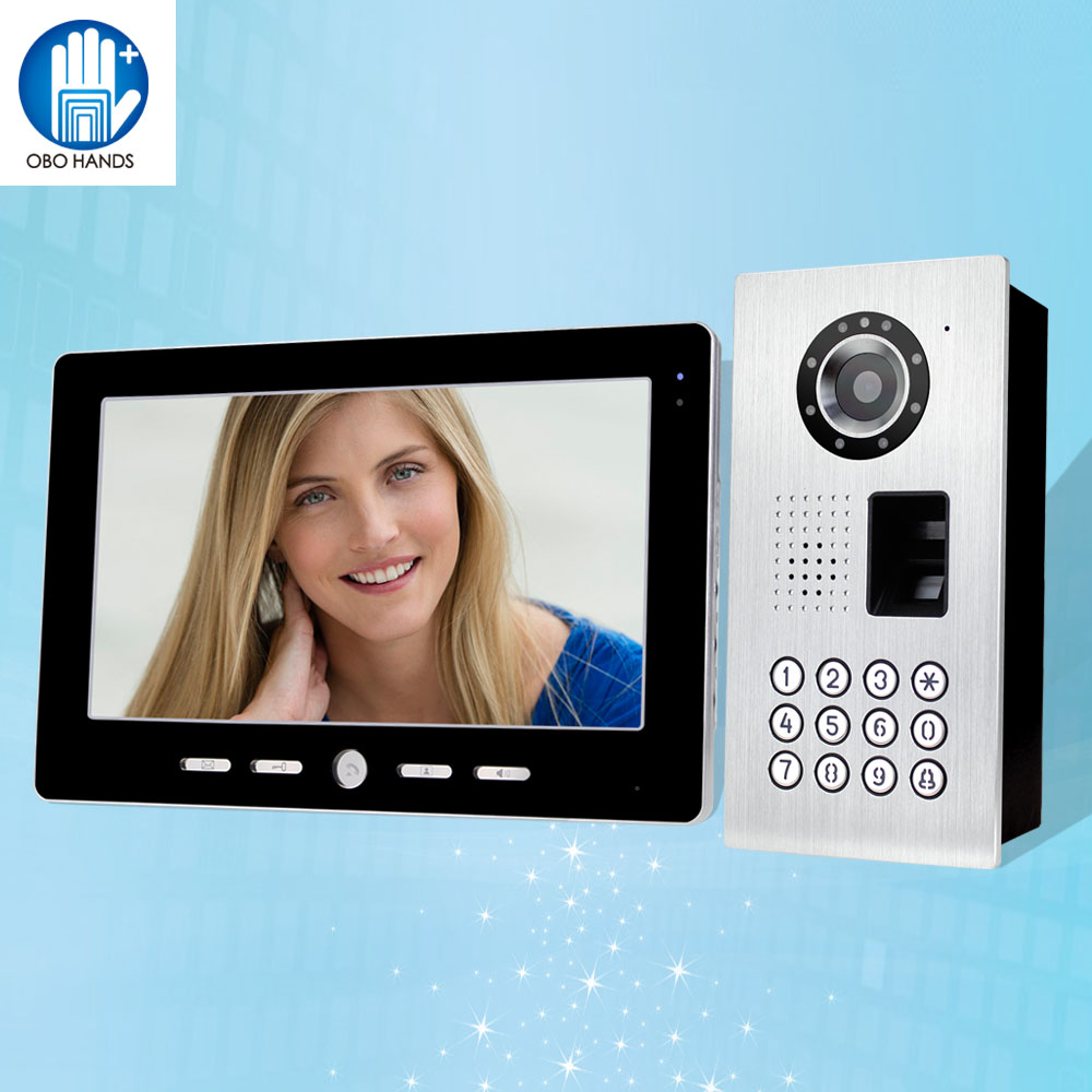 IP54 Waterproof 10'' TFT Color Wired Video Doorbell Intercom System With IR Fingerprint/ Password Outdoor Camera+Indoor Monitor 10 tft color video intercom system one to one monitor kit ir camera video doorbell with rfid 5 keyfobs waterproof v101fzsk11