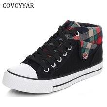 COVOYYAR/; клетчатая парусиновая обувь в британском стиле; женская обувь на плоской подошве; повседневная обувь на шнуровке; большие размеры 35~ 40; WSN18