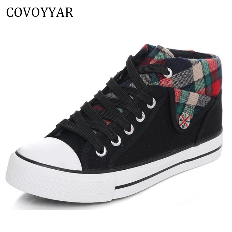 COVOYYAR 2018 British Style Plaid Canvas Shoes Women Flats Low Top Lace Up Casual Shoes Plus Size 35~40 WSN18 цена 2017