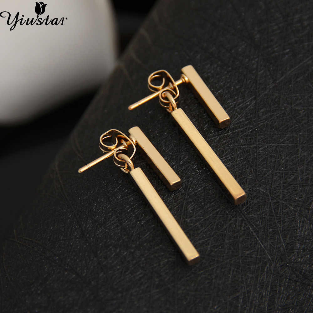 Yiustar New Fashion T Bar Earrings Ear Jacket For Women Simple Gold Earrings Wings Earrings Wedding Gifts Trendy Jewelry ED140