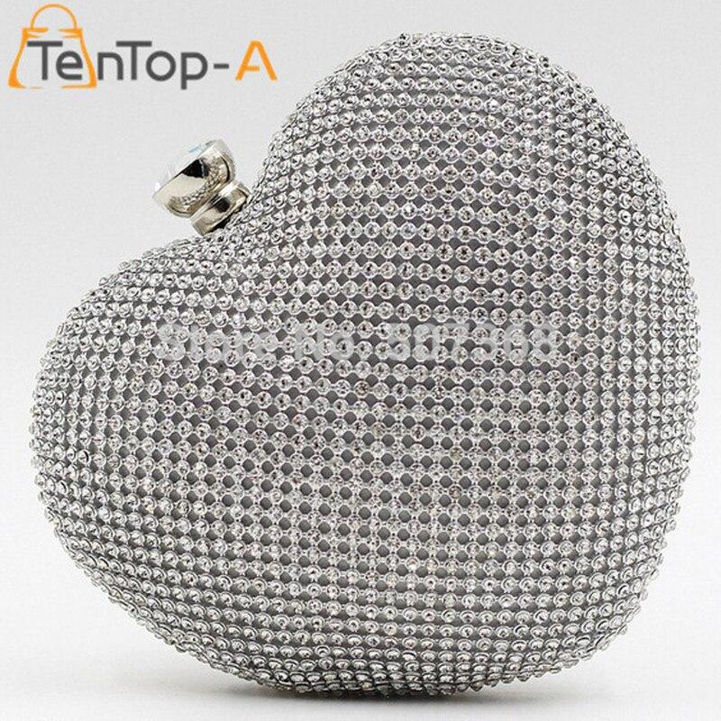TenTop-Una Forma de Corazón de Lujo Bolsos de Tarde del Diamante de la Señora Bo