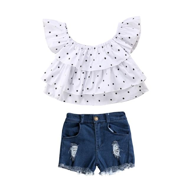4b0ade33b30889 Summer Fashion Toddler Kids Baby Girls Clothing Cute Polka Dot Off Shoulder  Tops Ruffles Shorts Denim Jeans Outfits 2pcs 1-7T