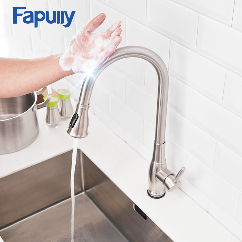 Fapully Sensor Smart Touch Control Kitchen Sink Faucet Pull Out Inductive Water Saving Faucet 360 Degree Rotation Tap CP1028Fapully Sensor Smart Touch Control Kitchen Sink Faucet Pull Out Inductive Water Saving Faucet 360 Degree Rotation Tap CP1028