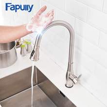 Fapully Sensor Smart Touch Control Kitchen Sink Faucet Pull Out Inductive Water Saving Faucet 360 Degree Rotation Tap CP1028 fapully smart touch control kitchen faucet brushed black sensitive mixer touch induction faucet pull down sink tap crane cp1051