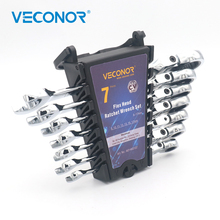 Veconor 7 Pieces Flexible Head Ratchet Handle Wrench Set Swievel Spanner 8 to 17mm Combo