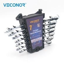 цена на Veconor 7 Pieces Flexible Head Ratchet Handle Wrench Set Swievel Ratchet Wrench Spanner 8 to 17mm Combo