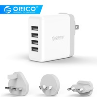 ORICO 4 Ports Wall Charger USB Mobile Phone Charger Fast For iPhone 6s 7/8/X/Plus iPad Samsung S8 Xiaomi Tablet EU/UK/US/AU Plug