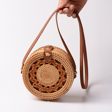 Round Straw Bags Summer Style Women Handbags Bohemian Rattan Crossbody Handmade Woven Beach Circular