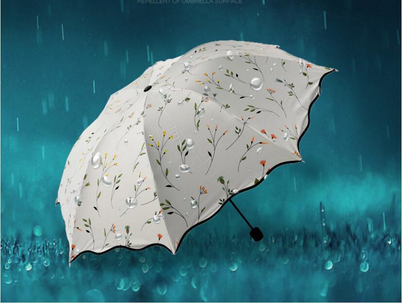 크리 에이 티브 트리플 접는 우산은 명주 태양 우산을 처리했다