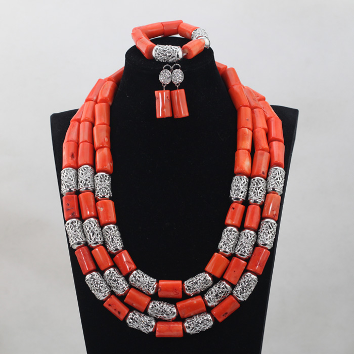 African Wedding Silver Mix Orange Big Coral Beads Jewelry Sets Retro Long Design Necklace Nigeria Accessory Free Shipping CJ792