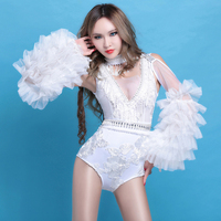 sexy bar nightclub dance DS costume DJ singer dance costumes white perspective