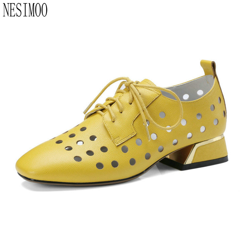 NESIMOO 2018 Summer Fashion Women Pumps Square Low Heel Cut Outs Genuine Leather Black Lace Up Ladies Casual Shoes Size 34-42 europe america style spring autumn women genuine leather thin high heel lace up low cut fashion denim shoes size 34 41 sxq0709