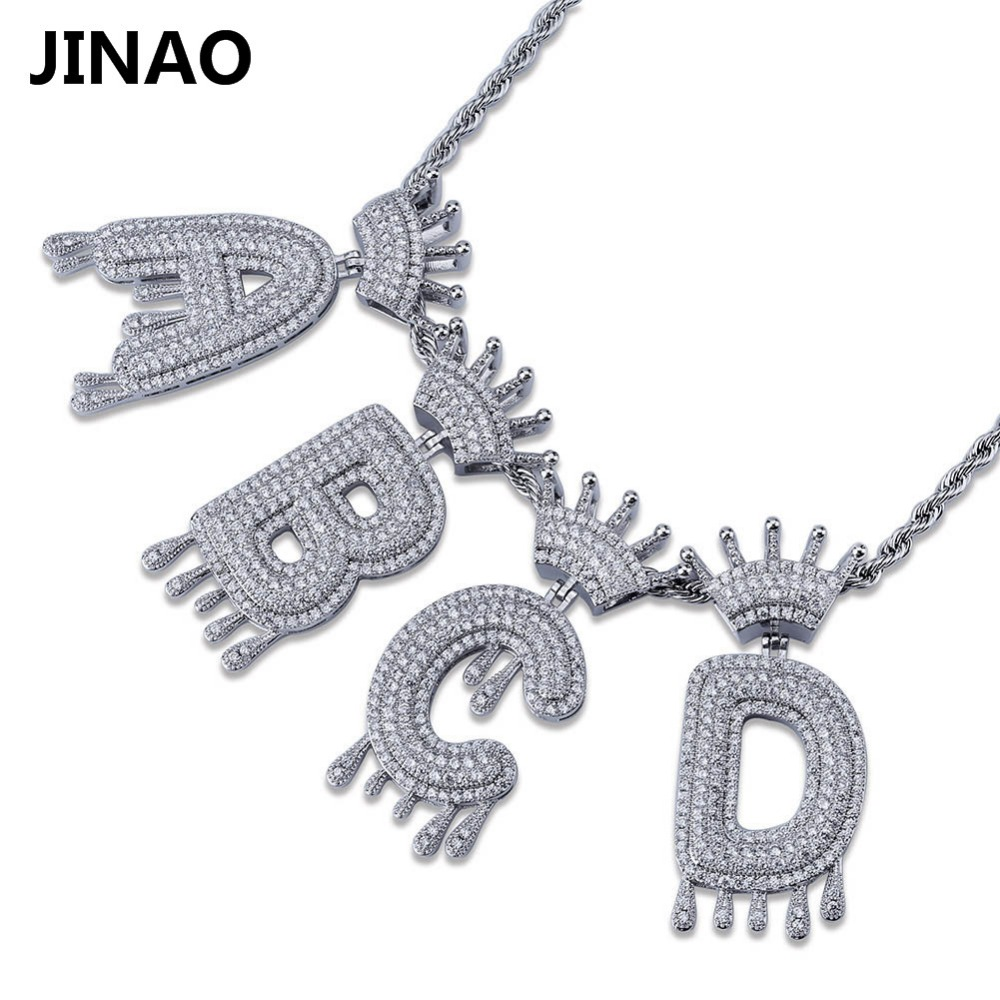 A-Z Custom Name Crown Drip Letters Necklaces & Pendant Chain For Men Women Gold Silver Color Cubic Zircon Hip Hop Jewelry Gifts custom name bubble letters chain pendants necklaces men s zircon hip hop jewelry with 4mm gold silver tennis chain