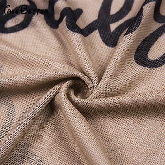 Transparent Mesh Bodysuit Bodyson Sexy Jumpsuits Slim Long Sleeve Women TOps Letter Print Fashion Body Clothes Feminist Summer